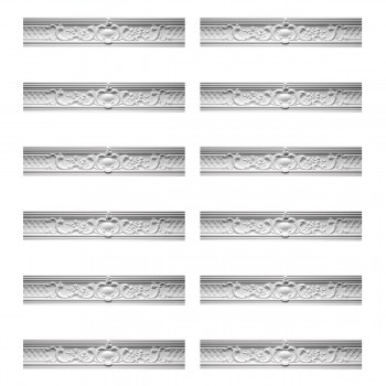 Renovators Supply Ornate Cornice White Urethane Fern Design 12 Pieces Totaling 957 Length White PrePrimed Urethane Crown Cornice Molding Cornice Crown Home Depot Ekena Millwork Molding Wall Ceiling Corner Cornice Crown Cove Molding