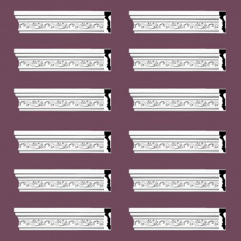<PRE>Crown Molding White Urethane Savanah Design 12 Pieces Totaling 1128inch Length</PRE>zoom2
