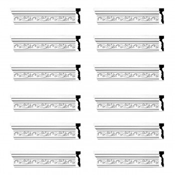Crown Molding White Urethane Savanah Design 12 Pieces Totaling 1128 Length White PrePrimed Urethane Crown Cornice Molding Cornice Crown Home Depot Ekena Millwork Molding Wall Ceiling Corner Cornice Crown Cove Molding