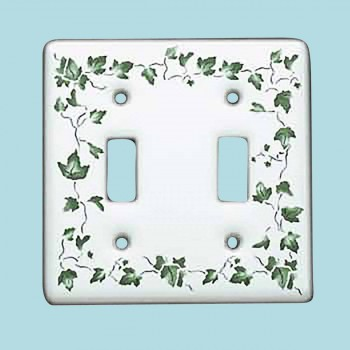 Vintage Switch Plate White Porcelain Ivy Double Toggle Switch Plate Wall Plates Switch Plates