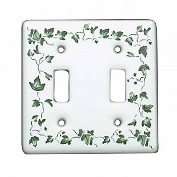 Vintage Switch Plate White Porcelain Ivy Double Toggle
