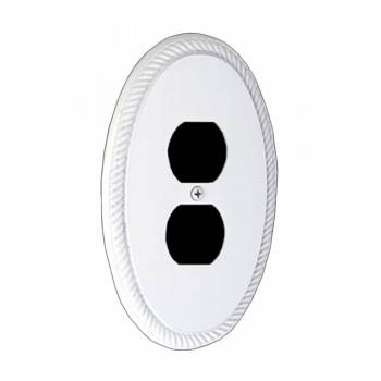 White Solid Brass Oval Braided, Single Outlet wall plate