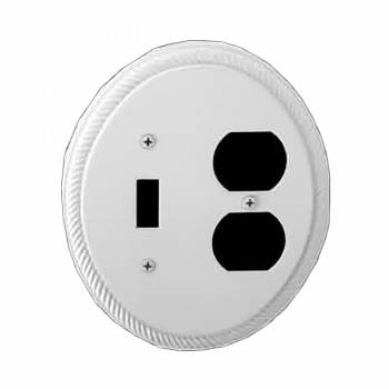 White Embossed Toggle/Outlet wall plate