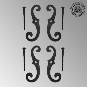 "spec-<PRE>Cast Iron Window Shutter Dogs (2 Pairs) 6-1/2"" H x 2-1/4"" W</PRE>"