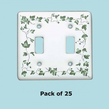 <PRE>25 Vintage Switch Plate White Porcelain Ivy Double Toggle </PRE>zoom2