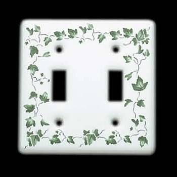 <PRE>25 Vintage Switch Plate White Porcelain Ivy Double Toggle </PRE>zoom3