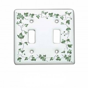 <PRE>25 Vintage Switch Plate White Porcelain Ivy Double Toggle </PRE>zoom1