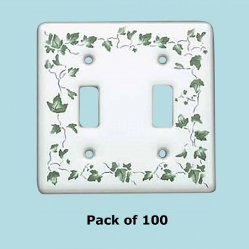 <PRE>100 Vintage Switch Plate White Porcelain Ivy Double Toggle </PRE>zoom2