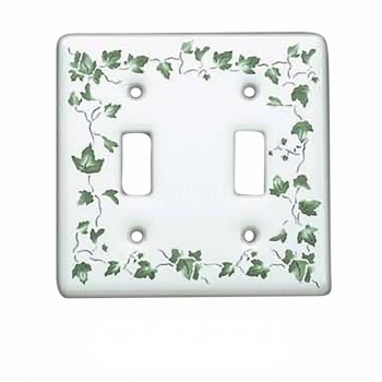 <PRE>100 Vintage Switch Plate White Porcelain Ivy Double Toggle </PRE>zoom1