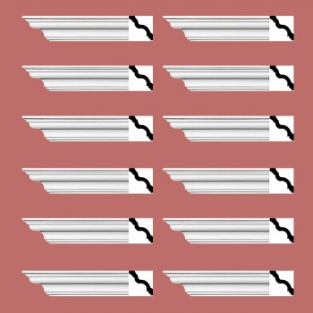 <PRE>Renovator's Supply Cornice White Urethane Hopewell Simple Design 12 Pieces Totaling 1152inch Length</PRE>zoom2