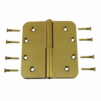Lift Off Right Door Hinge Bright Solid Brass Radius 5