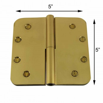 "spec-<PRE>Lift Off Right Door Hinge Bright Solid Brass Radius 5"" </PRE>"