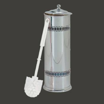 <PRE>Bathroom Toilet Brush Holder Bright Chrome 15inchH x 5&quot;D </PRE>zoom2