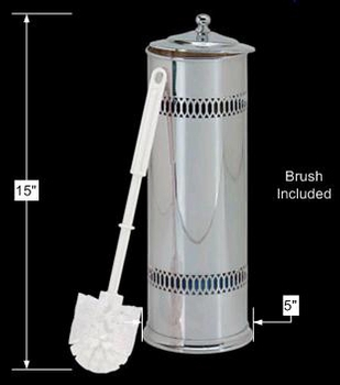 spec-<PRE>Bathroom Toilet Brush Holder Bright Chrome 15&quot;H x 5&quot;D </PRE>