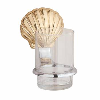 Sea Crest Tumbler Holder Brass and Chrome