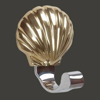 <PRE>Traditional Robe Hook Bright Solid Brass Sea Crest </PRE>zoom2
