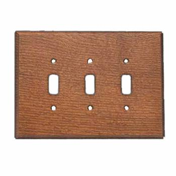 Switchplates Oak Tripple Toggle Plate 98225grid