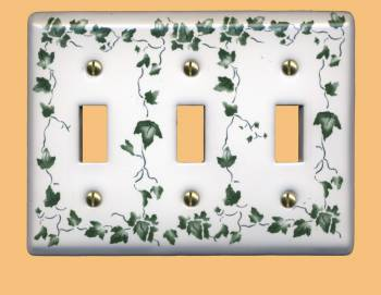 Switch Plate White Porcelain Ivy Triple Toggle Switch Switch Plate Wall Plates Switch Plates