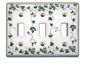 White Porcelain Ivy Triple Toggle switch plate