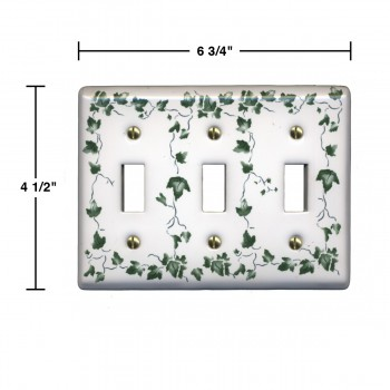 spec-<PRE>Switch Plate White Porcelain Ivy Triple Toggle Switch </PRE>