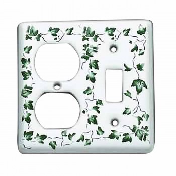 Switchplates White Porcelain Ivy Toggle/Outlet Switch Plate