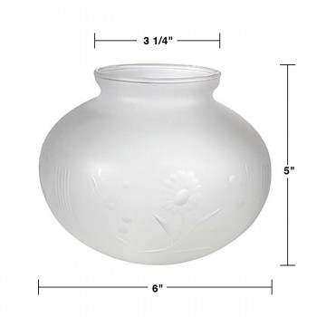 spec-<PRE>Lamp Shade White Milk Glass Globe 3 1/4&quot; Fitter 5&quot; H 6&quot; Dia</PRE>
