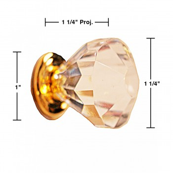 spec-<PRE>Clear Acrylic Cabinet Knobs and Pulls 1 1/4 Inch</PRE>