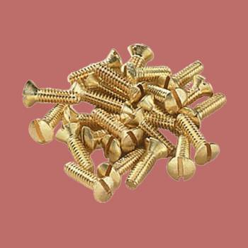 <PRE>Brass Switchplate Screws 6/32 x 1/2&quot; Slotted Oval Head Set of 25 </PRE>