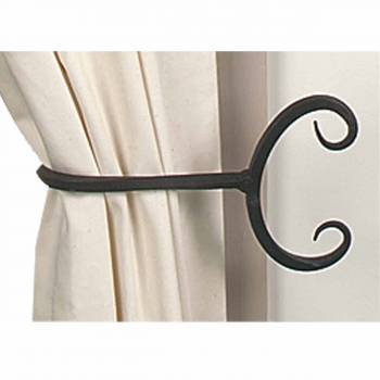<PRE>Curtain Tie Back Black Wrought Iron Pair 9&quot; L </PRE>