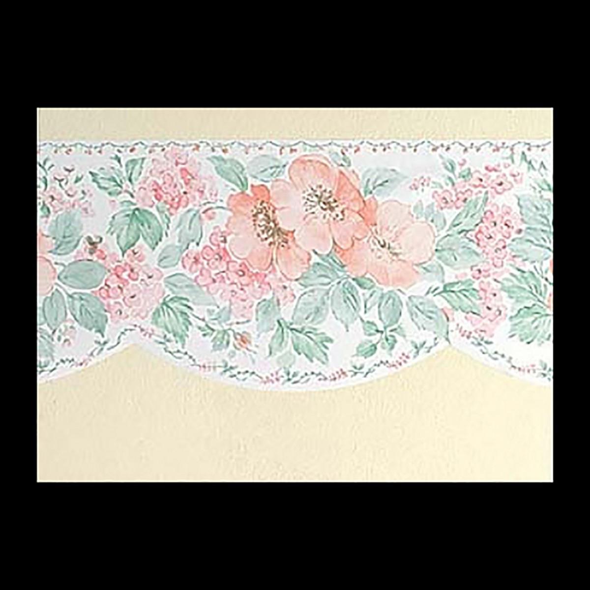 Bramley White Multi Nylon Wallpaper Border Peach Green Scalloped Shape