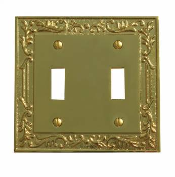 Victorian Switch Plate Double Toggle PVD Solid Brass 98384grid