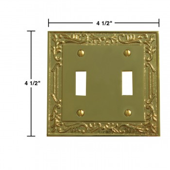 spec-<PRE>Victorian Switch Plate Double Toggle PVD Solid Brass </PRE>