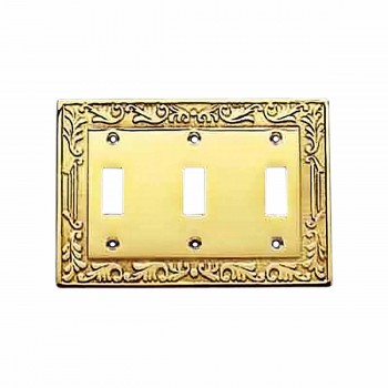 Victorian Switch Plate Triple Toggle PVD Solid Brass