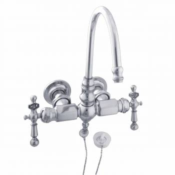 clawfoot tub faucet chrome gooseneck 2 handles wall mount 98597grid