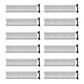 Renovators Supply Crown Molding White Urethane Beacon Hill Ornate  12 Pieces Totaling 1152 Length White PrePrimed Urethane Crown Cornice Molding Cornice Crown Home Depot Ekena Millwork Molding Wall Ceiling Corner Cornice Crown Cove Molding