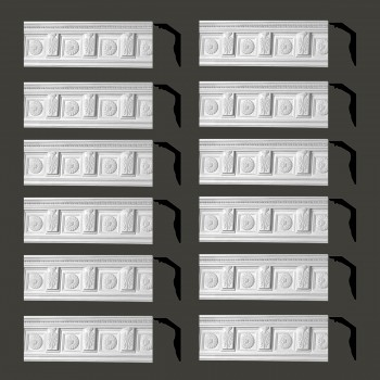 Renovators Supply Cornice White Urethane Tyrese Ornate Design 12 Pieces Totaling 897 Length White PrePrimed Urethane Crown Cornice Molding Cornice Crown Home Depot Ekena Millwork Molding Wall Ceiling Corner Cornice Crown Cove Molding