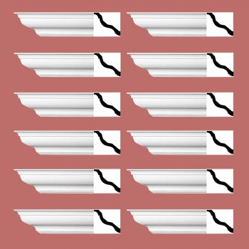 "spec-<PRE>Renovator's Supply Cornice White Urethane Kensinton Design 12 Pieces Totaling 1128"" Length</PRE>"