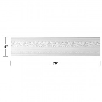 "spec-<PRE> Cornice White Urethane Pearl Ornate Design 12 Pieces Totaling 948"" Length</PRE>"