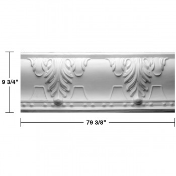 "spec-<PRE> Cornice White Urethane Autumn Melody Design 12 Pieces Totaling 952.5"" Length</PRE>"