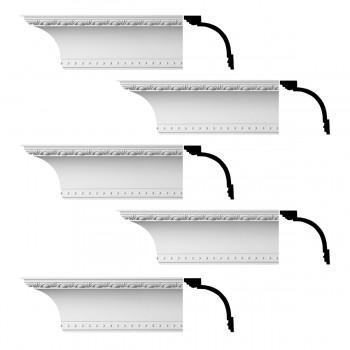 Renovators Supply Ornate Cornice White Urethane Ashlyn Design 5 Pieces Totaling 470 Length White PrePrimed Urethane Crown Cornice Molding Cornice Crown Home Depot Ekena Millwork Molding Wall Ceiling Corner Cornice Crown Cove Molding