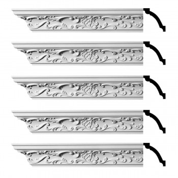 Renovators Supply  Ornate Cornice White Urethane Design 5 Pieces Totaling 470 Length White PrePrimed Urethane Crown Cornice Molding Cornice Crown Home Depot Ekena Millwork Molding Wall Ceiling Corner Cornice Crown Cove Molding