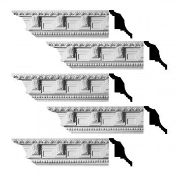 Renovators Supply Ornate Cornice White Urethane Edinburgh Design 5 Pieces Totaling 475 Length