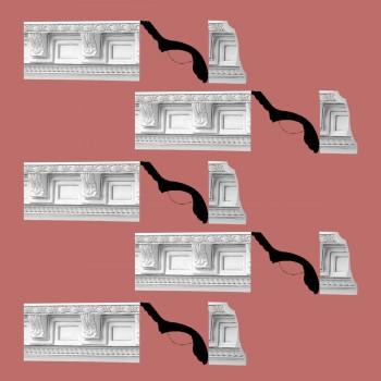 Renovators Supply Cornice White Urethane Grecoroman Ornate  5 Pieces Totaling 384.375 Length White PrePrimed Urethane Crown Cornice Molding Cornice Crown Home Depot Ekena Millwork Molding Wall Ceiling Corner Cornice Crown Cove Molding