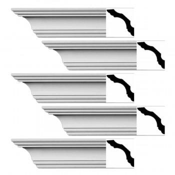 Renovators Supply Simple Cornice White Urethane Northbridge Design 5 Pieces Totaling 480 Length White PrePrimed Urethane Crown Cornice Molding Cornice Crown Home Depot Ekena Millwork Molding Wall Ceiling Corner Cornice Crown Cove Molding