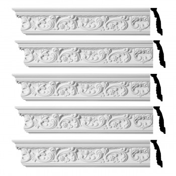 Renovators Supply Ornate Cornice White Urethane Cannes Design 5 Pieces Totaling 470 Length White PrePrimed Urethane Crown Cornice Molding Cornice Crown Home Depot Ekena Millwork Molding Wall Ceiling Corner Cornice Crown Cove Molding
