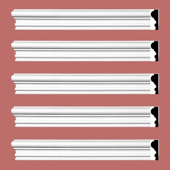"spec-<PRE> Crown Molding White Urethane Amherst Simple Design 5 Pieces Totaling 480"" Length</PRE>"