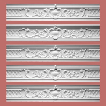 <PRE>Renovator's Supply Ornate Cornice White Urethane Fern Design 5 Pieces Totaling 398.75inch Length</PRE>zoom2