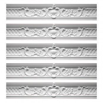 <PRE>Renovator's Supply Ornate Cornice White Urethane Fern Design 5 Pieces Totaling 398.75inch Length</PRE>zoom1