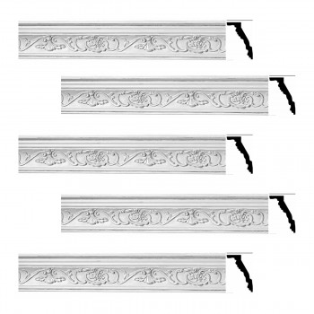 Renovators Supply Ornate Cornice White Urethane Vineyard Design 5 Pieces Totaling 391.875 Length White PrePrimed Urethane Crown Cornice Molding Cornice Crown Home Depot Ekena Millwork Molding Wall Ceiling Corner Cornice Crown Cove Molding