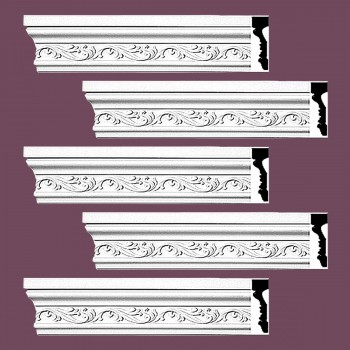 <PRE>Renovator's Supply Crown Molding White Urethane Savanah Design 5 Pieces Totaling 470inch Length</PRE>zoom2
